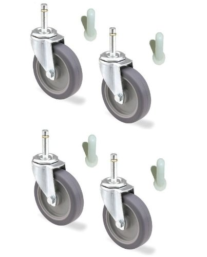 Set of 4 Universal Fit Mop Bucket Casters with 3″ Wheel & 7/16″ Grip Ring Stem