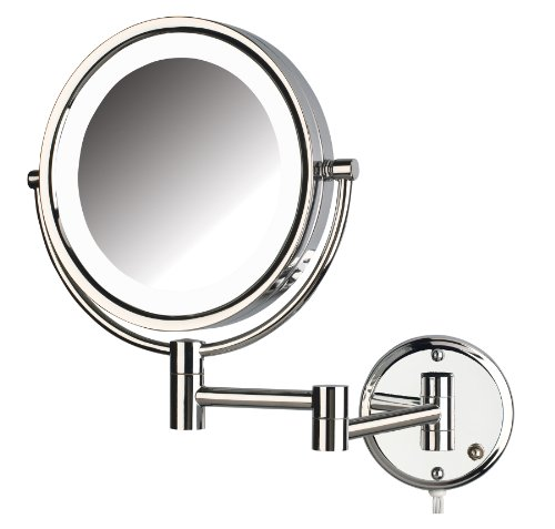 Jerdon Hl88Cl 8.5-Inch Led Lighted Wall Mount Makeup Mirror With 8X Magnification, Chrome Finish