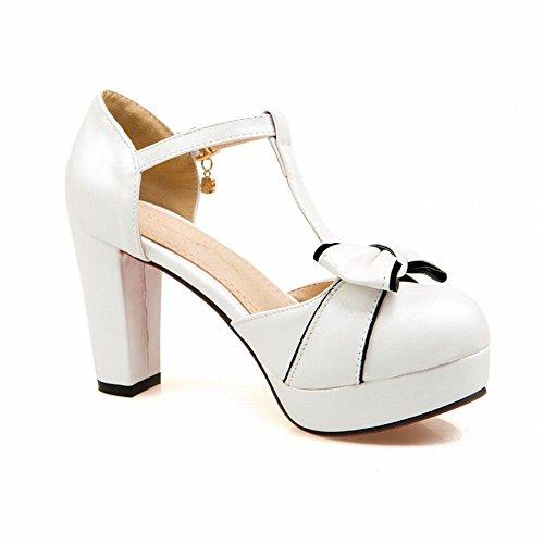 Lucksender Womens Round Toe High Heel Platform T-strap Sandals Pumps With Cute Bowknots 1