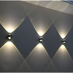 MVPower® 2W mini LED Wandlampe Wandleuchte Kugellampe Flurlampe modern design Lampe Leuchte Wand Warmweiß Kaltweiß Wandstrahler innen (2W Warmweiß)