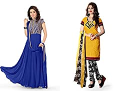 BanoRani Combo of Blue Color Faux Georgette Semi Stitched Anarkali Gown and Yellow Color PolyCotton Unstitched Salwar Suit