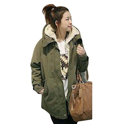 FEITONG donne parka con cappuccio in pile inverno giacca calda (verde militare, XXXL)