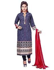 Navy Blue Handloom Cotton Readymade Salwar Kameez Dress - Machine Patch Work In Top