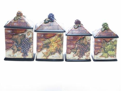 Certified International Wine Cellar 4-Piece Canister Set