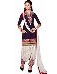 London Beauty Fancy Wine Purple & White Designer Patiyala Suit