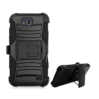 ZTE ATRIUM CASE, Phonelicious® For ZTE ATRIUM Z793C / ZTE SCEND Z791G Xtreme Heavy Duty Hybrid Armor Dual Layer Rhino Kickstand Belt Holster Clip Rugged Tuff Cover + Screen Protector & Stylus (Black) from Phonelicious