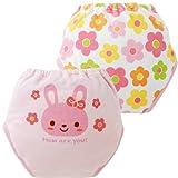 (チャックル) chuckle 4層ウサギちゃん&お花トレーニングパンツ2枚組 ピンク 90cm W4133-90-20