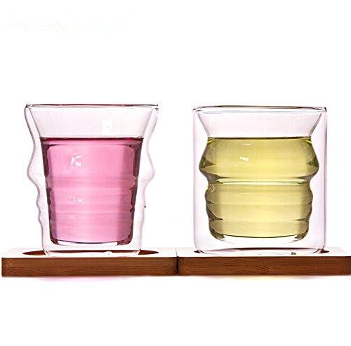 Dechunxian® Creative Life Series - Glass Tea Pot + Tea Infuser Strainer ,Lead-free Heat-resistant Borosilicate Glass, Dishwasher Microwave Refrigerator Safe (2* Cups+2*Bamboo Coaster)