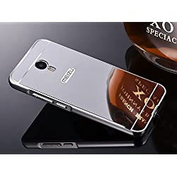 Febelo (TM) Branded Luxury Metal Bumper with Acrylic Mirror Back Cover Case For Lenovo Meizu M3 Note - Silver Plated