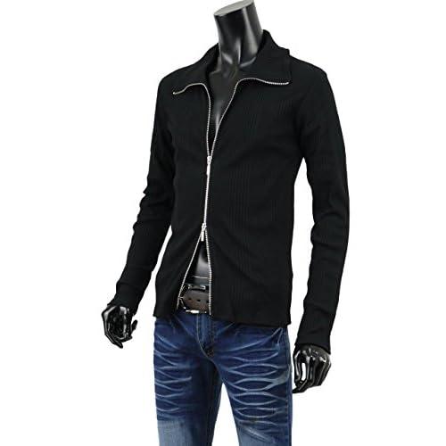 リブシャツ メンズ シャツ ジップアップ Wジップ リブ カットソー 無地 長袖 キレイめ A261107-01 ブラック L