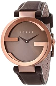 Gucci Women's YA133309 Interlocking Brown Strap Watch