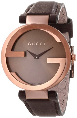 81b92c17168 Gucci Women s YA133309 Interlocking Brown Strap Watch