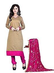 Subhash Sarees Daily Wear Dark Beige Color Chanderi Salwar Suit Dress Material