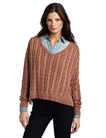 TEXTILE Elizabeth and James Women's Boxy V-Neck Sweater, Golden Oak Multi, X-Small