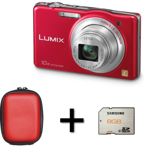 Panasonic DMC-SZ1 Super Zoom Compact Camera Red + Case and 8GB Memory Card (16.1MP 10x Optical Zoom) 3 inch LCD
