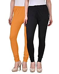 Desi Duos Women's Solid Cotton Leggings With Great Mustard Yellow & Black Color