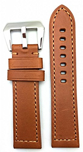 24Mm Long, Brown, Panerai Style, Smooth Leather Watch Band