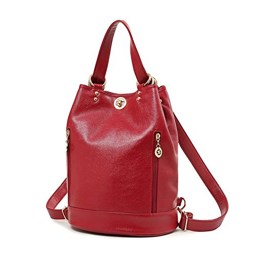 JOYSKY HB440170 Spring Genuine Leather Korean Version Women's Handbag,Bucket-Type Backpack