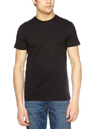 Lee Twin Pack Crew Short Sleeve-L680BC0 Plain Men's T-Shirt Black Large