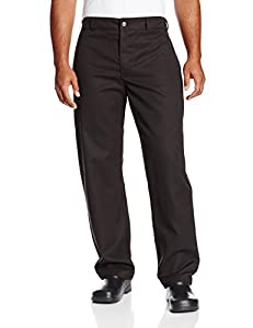 Chef Revival P034BK Poly Cotton Chef Trouser with 2 Side and 2 Rear Pockets, 2X-Large, Black