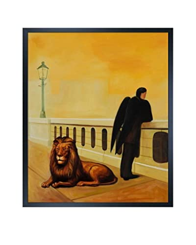 "René Magritte's Homesickness Framed Hand Painted Oil On Canvas, Multi, 25.5"" x 21.5"""