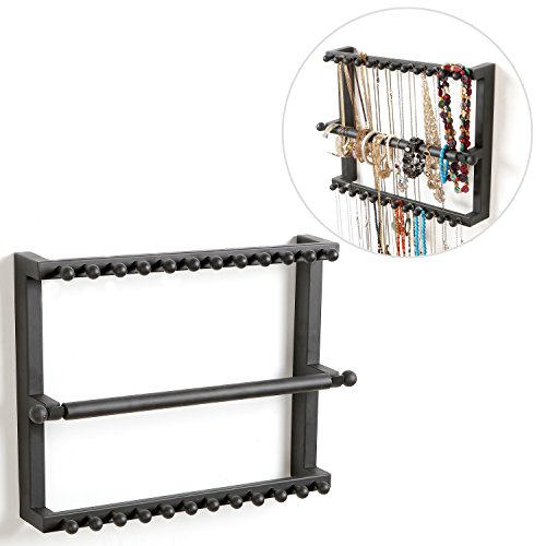 Wall Mounted Black Metal 24 Hook Jewelry Hanger Storage Organizer Display Rack with Bracelet Hanging Bar (Jewelry Wall Rack compare prices)