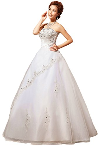 YACUN Strapless Lace Beading Wedding Dress Bride Wedding Gown Custom Size HS80-16