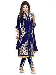 INDIA FASHION SHOP BLUE GOLD EMBROIDERED GEORGETTE DRESS