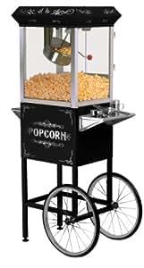 MaxiMatic EPM-300 Elite Deluxe 8-Ounce Old-Fashioned Popcorn Popper Machine Trolley, Black