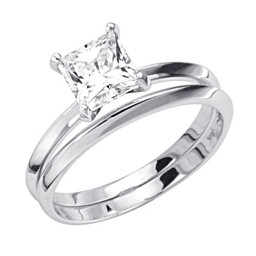 14K White Gold Solitaire Princess CZ Cubic Zirconia High Polish Finish Ladies Wedding Engagement Ring and Matching Band 2 Two Piece Sets (Size 4 to 9) - Size 4.5
