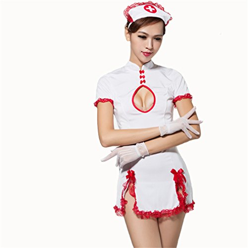 Elufly White Nurse Costume Play Doctor Uniform Jumpsuits