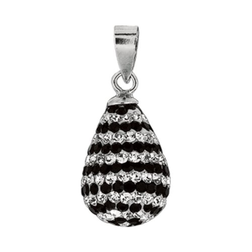 Sterling Silver Crystal Rhodium Plated Td Pendant Studde - JewelryWeb