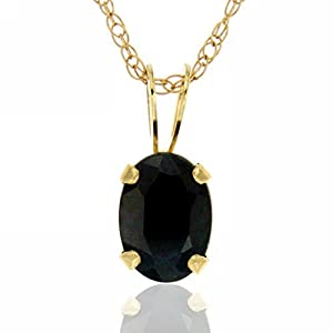 14k Yellow Gold Oval Solitaire Natural Black Sapphire Gemstone Pendant, Birthstone September, 18