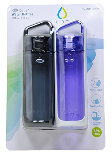 Delta KOR Delta Water Bottles 2 Pack (Anthracite Black & Lavender), 25oz