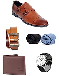 Bacca Bucci Men Combo Pack Of 5 : Formal Shoes , Watch , Wallet, Belt, Socks