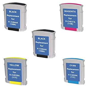 Amsahr 10HY HP C4841A/2000C/2500C Remanufactured Replacement Ink Cartridges - Set of 2 Black and 3 Color Ink