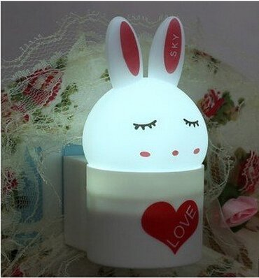 Aketek Creative Super Cute Rabbit Shaped Colorful Light Control Led Night Light Baby Bedside Lamp (White)