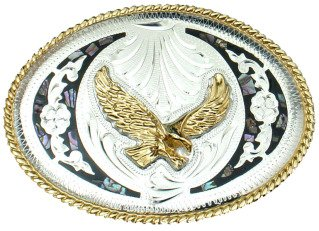 Western Express Abalone & German Silver Eagle Belt Buckle