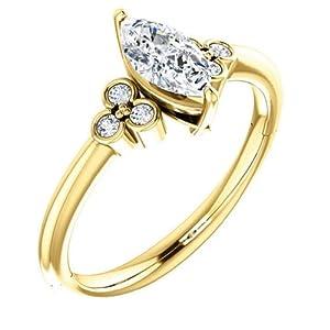 14K Yellow Gold Marquise Cut Diamond Engagement Ring