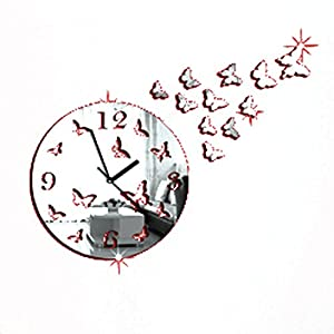Atdoshop Tm Butterfly 3d Diy Mirror Living Room Home Wall Clock Kitchen Home
