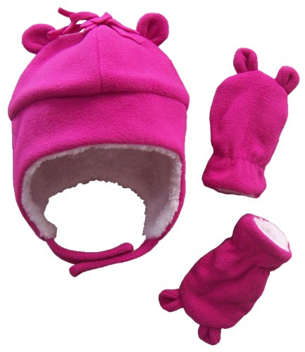 N'Ice Caps Little Girls and Baby Sherpa Lined Fleece Hat Mitten Set with Ears (6-18 Months, Fuchsia Infant)