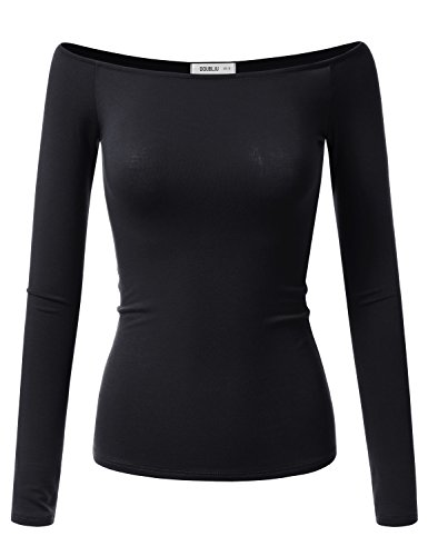 Doublju Womens Long Sleeve Fitted Off the Shoulder Blouse Top (Made In USA) BLACK LARGE (Fancy Women Tops compare prices)
