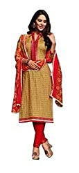 Desifab Women's Cotton Red & Gold Unstiched Dress Material