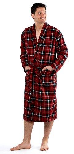 Mens Harvey James Classic Warm Plaid Check Fleece Bathrobe Dressing Gown Red XL