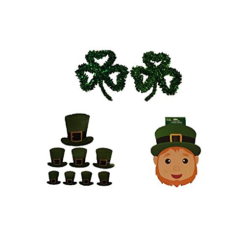 St. Patrick's Day Tinsel Shamrock Leprechaun Party Wall Decorations Supplies Bundle