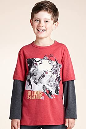 Crew Neck Long Sleeve Lion's Xmas T-Shirt