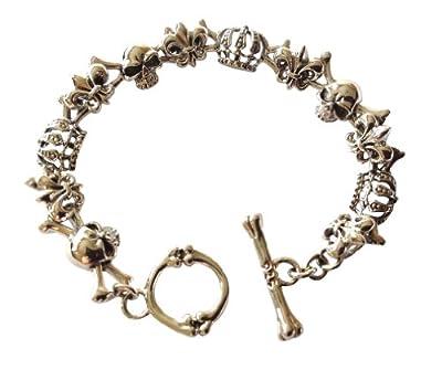 925 Sterling Silver Skull and Crown Bone Clasp Bracelet 30g