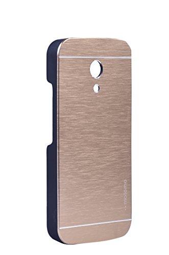 ING Moto G2 Metal Back Case Cover For Motorola Moto G 2Nd Generation (Golden)