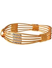 JFL - Fusion Ethnic Austrian Diamond One Gram Gold Plated Bangle Kada For Women And Girls
