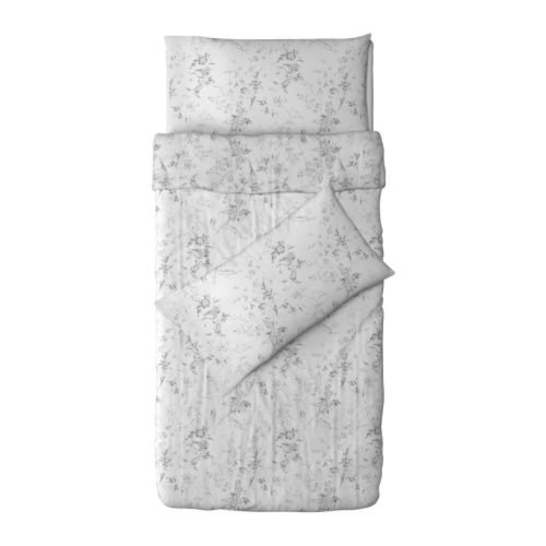 Quilt Cover and 4 Pillowcases Set, White & Grey - 1 X Quilt Size Length 200cm X Width 150cm - 4 X Pillows Cover Size Length 50cm X Width 80cm